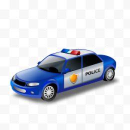 黑色手绘警察警车png素材透明免抠图片-卡通手
