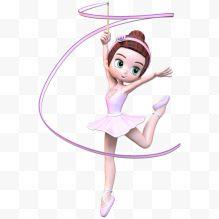 女生粉色插画芭蕾手绘男生舞蹈免费下载-女孩头发图片摸让舞蹈图片