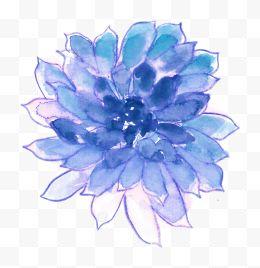 蓝色水粉手绘多肉植物图片免费下载-蓝色水粉